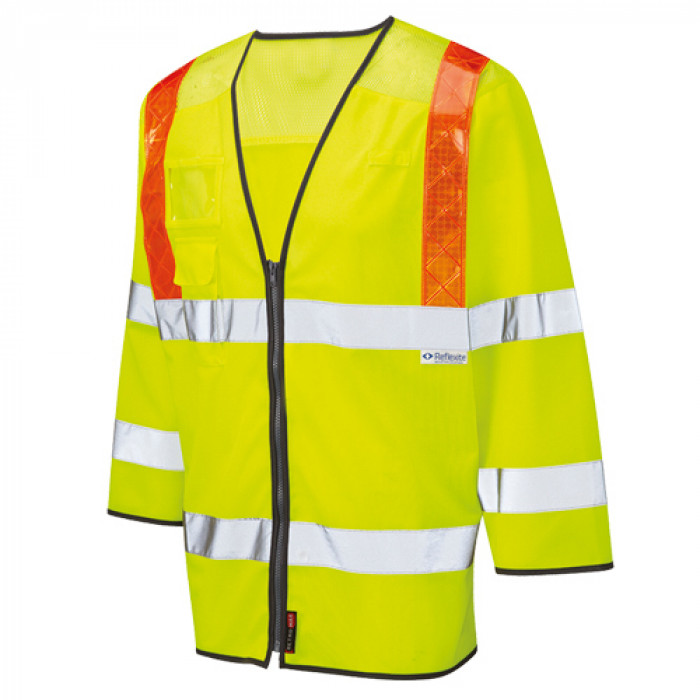 Hi Vis 3/4 Length Sleeved Yellow Vest EN471 Class 3 Coolviz Orange Brace Ventilated - 4XL