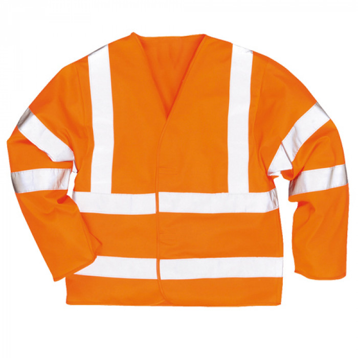 Hi Vis Long Sleeve Vest Orange - Size 4XL