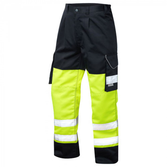 ISO 20471 Class1 Poly Cotton Cargo Trouser Yellow/Navy