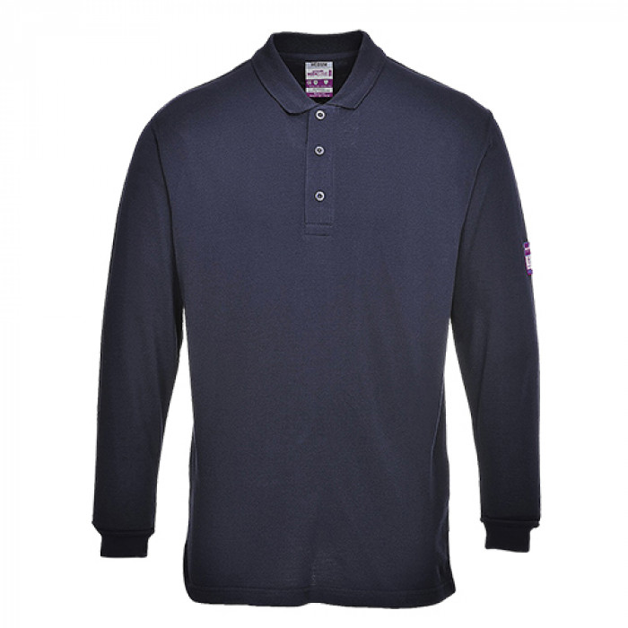 Long Sleeved Polo Shirt Flame Retardant Navy XXXXL
