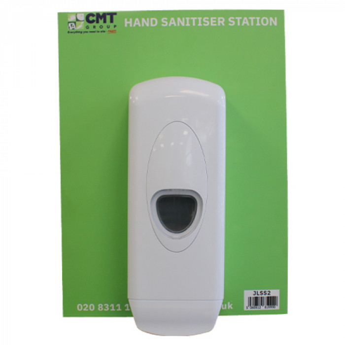 Alcohol hand sanitiser dispenser on wall mount board with your company logo