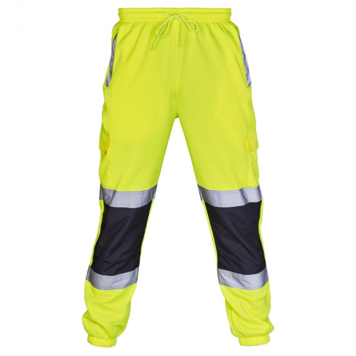 Hi Vis Two Toned Jogging Trousers Yellow/Navy - Large