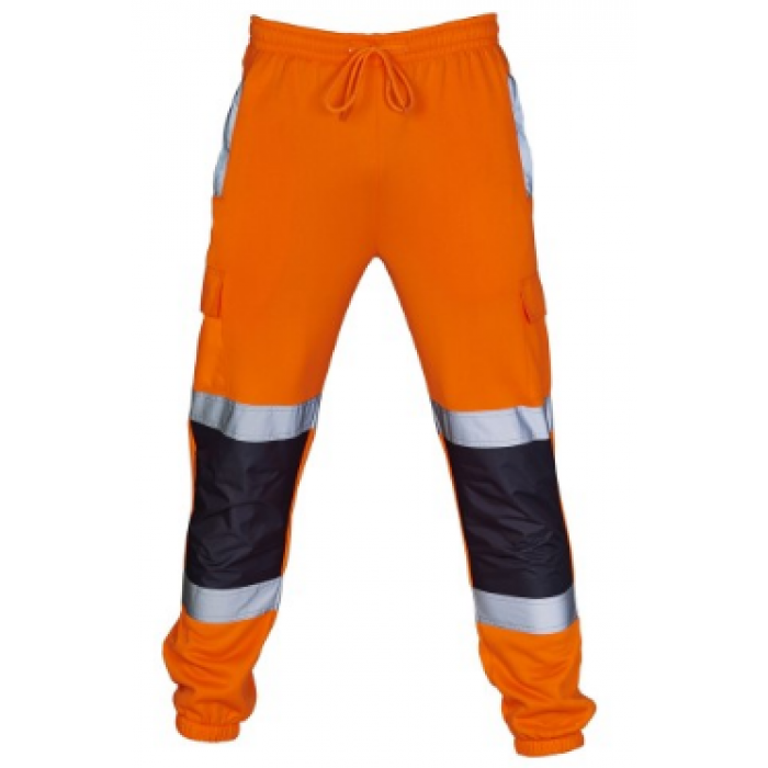 Hi Vis Two Toned Jogging Trousers Orange/Navy - Large