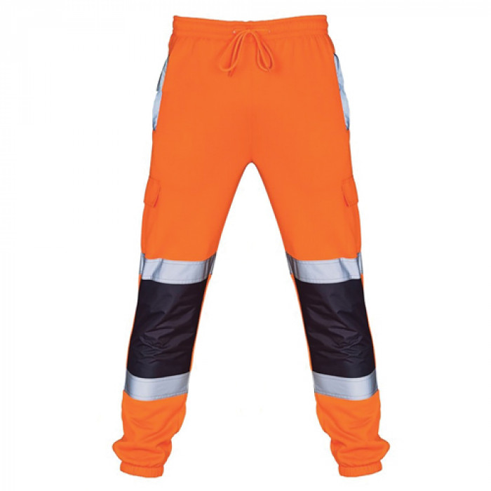 Hi Vis Two Toned Jogging Trousers Orange/Navy - XXXL