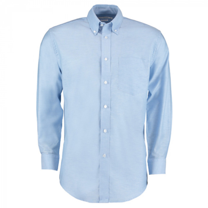 Kustom Kit Premium Oxford Long Sleeve Shirt Sky Blue - Size 15.5