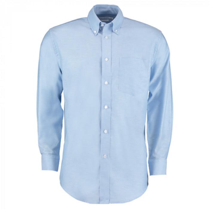 Kustom Kit Premium Oxford Long Sleeve Shirt Sky Blue - Size 17.5
