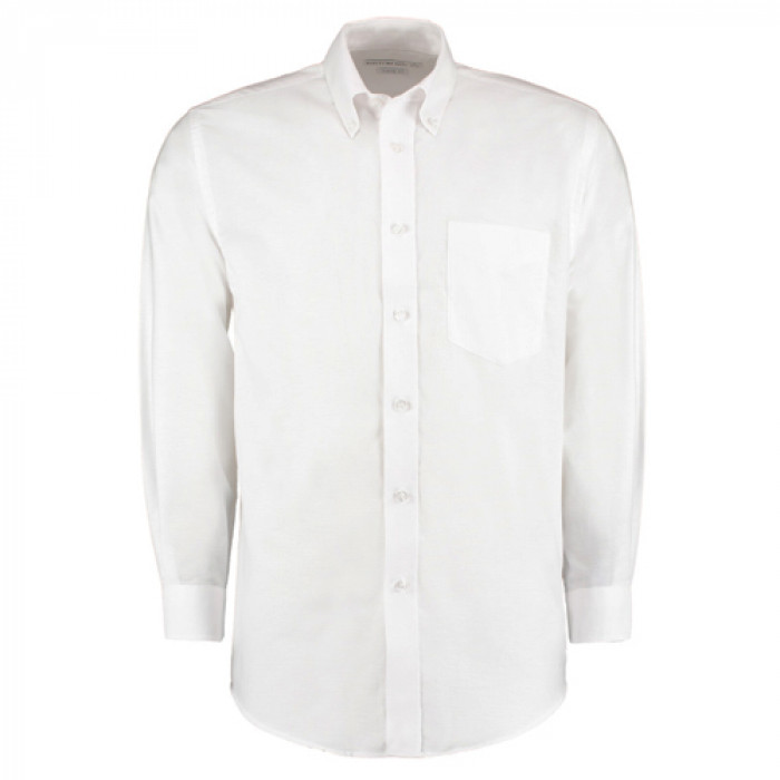 Kustom Kit Premium Oxford Long Sleeve Shirt White - Size 18.5