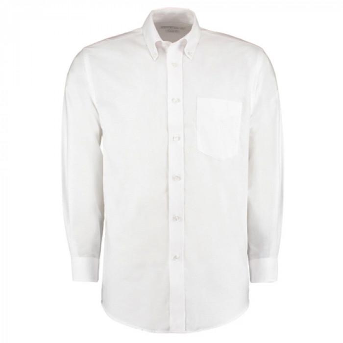 Kustom Kit Premium Oxford Long Sleeve Shirt White - Size 19.5