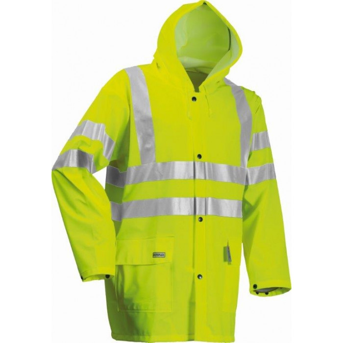 Hi Vis Yellow Water Proof Rain Jacket with Arc Protection FR & AS - LARGE