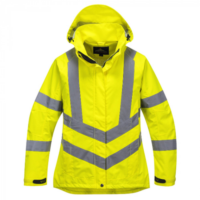 Ladies Hi Vis Yellow Breathable Rain Jacket - Large
