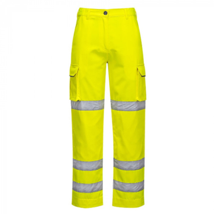 Ladies Hi Vis Yellow Breathable Rain Trousers - Small