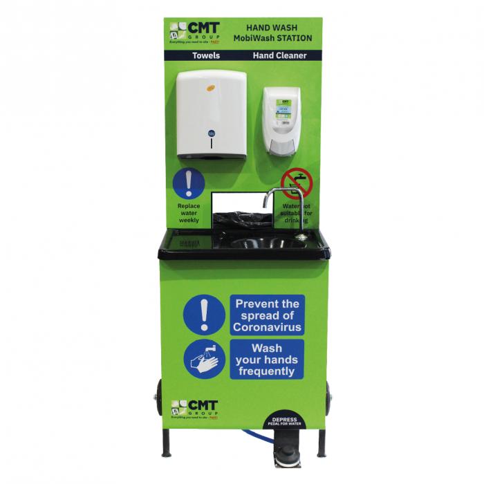 Mobile Hand Wash Sanitising Station C/W Waste Bin