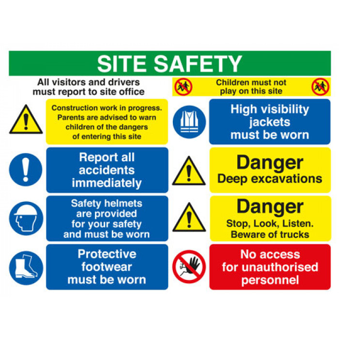 Site Safety Board All Visitors/Construction/Report/Hard Hat/Footwear/Danger/No A2