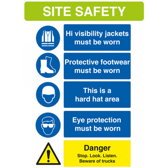 Site Safety Sign - 594mm x 841mm - Rigid PVC