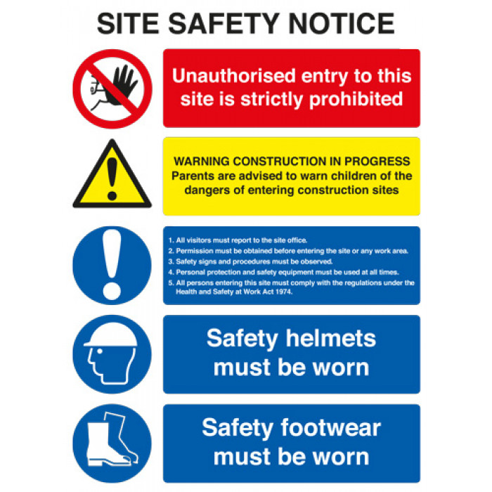 Site Safety Board A2 Rigid Plastic