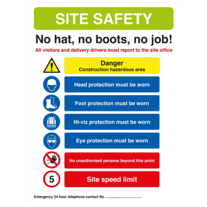 Site Safety Sign - No Hat, No boots, no job! 594mm x 841mm - Rigid PVC