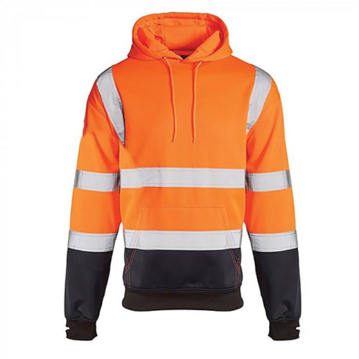 Hi Vis Two Toned Hooded Sweater Orange/Navy