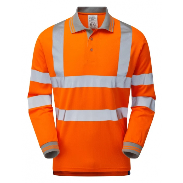 PULSAR® Rail Spec Long Sleeve Polo Shirt Orange
