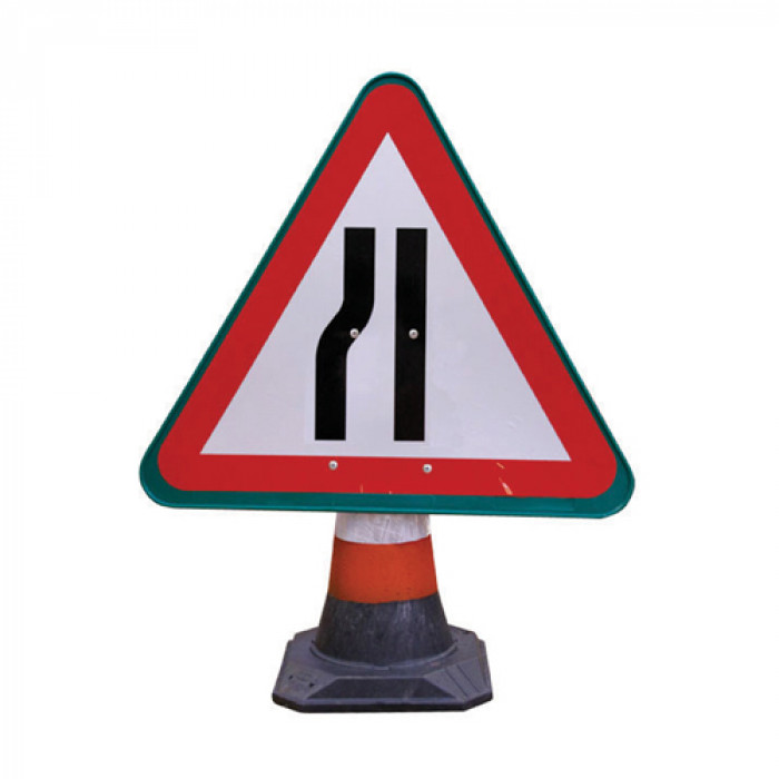 Cone Sign - Road Narrows Left
