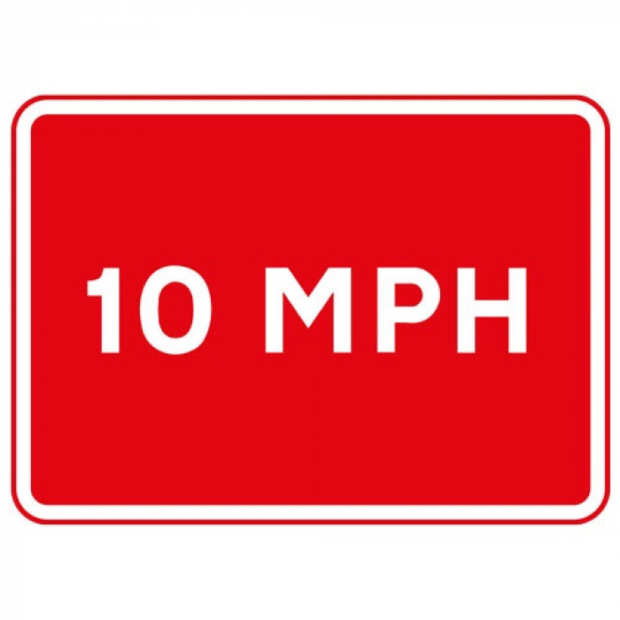 Metal Rectangle Plate Sign 10MPH Speed Limit 600 X 450mm