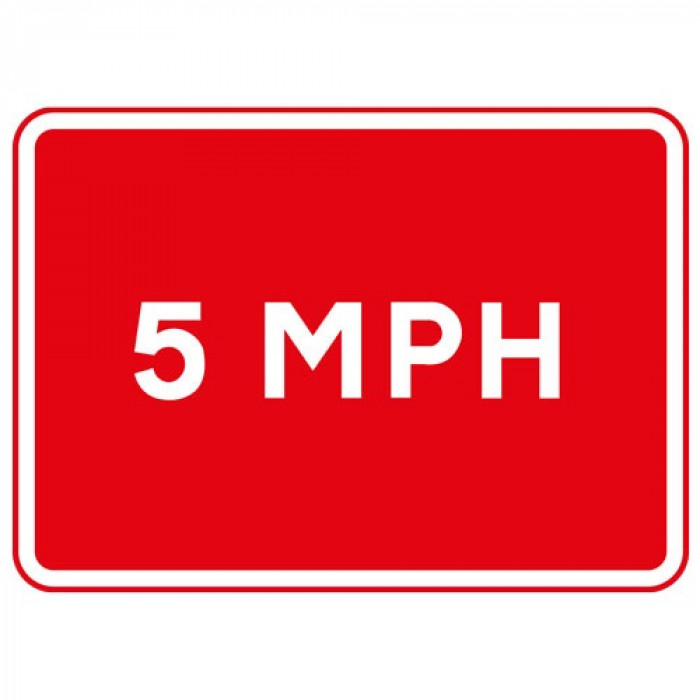Metal Rectangle Plate Sign 5MPH Speed Limit 600 X 450mm