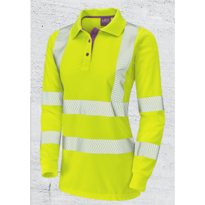 Women's Safety Clothing | Yellow Hi Vis Long Sleeve Polo Shirt | CMT Group