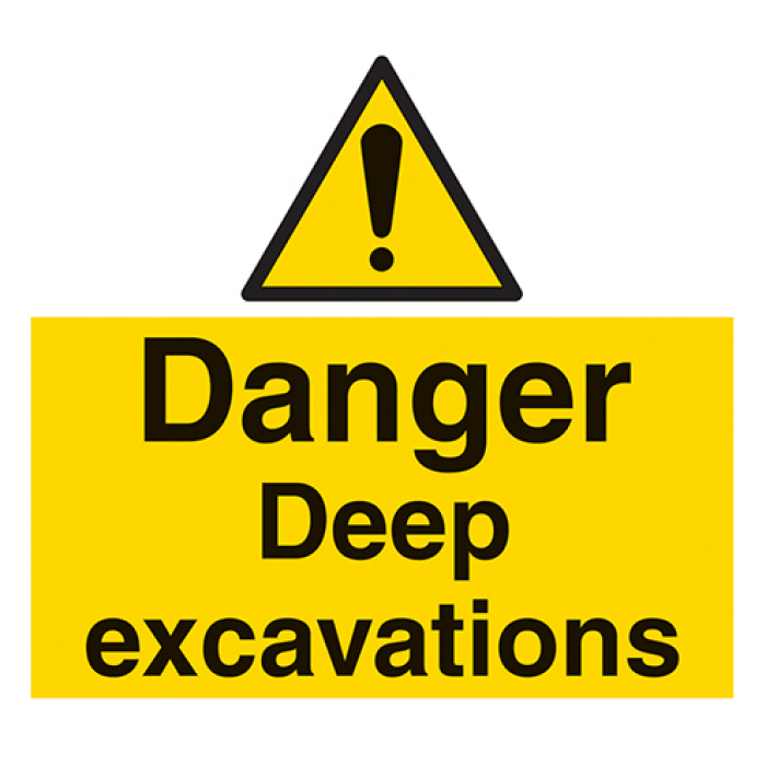 "PVC A4 Sign - ""Danger Deep Excavations"""